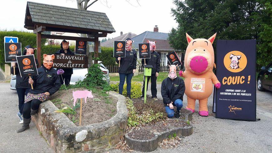Les militants de Welfarm autour de leur mascotte, Paillasson le cochon, à l'entrée de Porcelette
