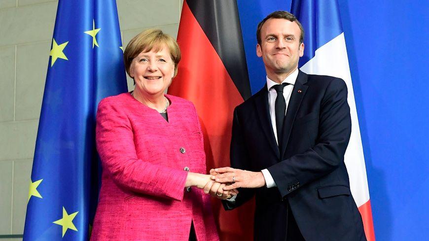 Angela Merkel et Emmanuel Macron à Berlin lundi 15 mai.