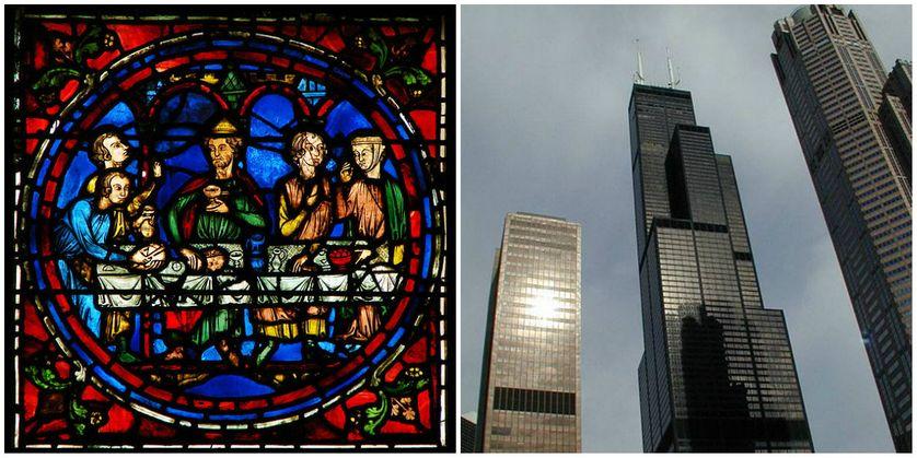 Détail du vitrail dit Notre-Dame de la Belle Verrière, une partie du 13ème siècle, dans la Cathédrale Notre-Dame de Chartres. Ce médaillon est la partie centrale d'une section relatant les Noces de Cana./ Sears Tower au centre à Chicago