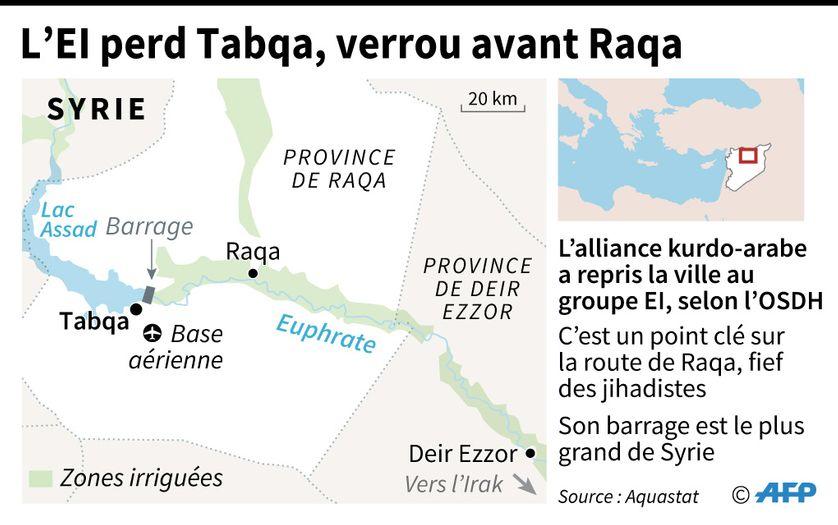 Les Kurdes prennent la ville-clé de Tabqa aux djihadistes du groupe Etat islamique en Syrie