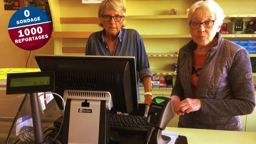 Claire, la maire de Jenzat et Christiane, une conseillère municcipale bénévole à l'épicerie du village jusqu'au 15 juin.