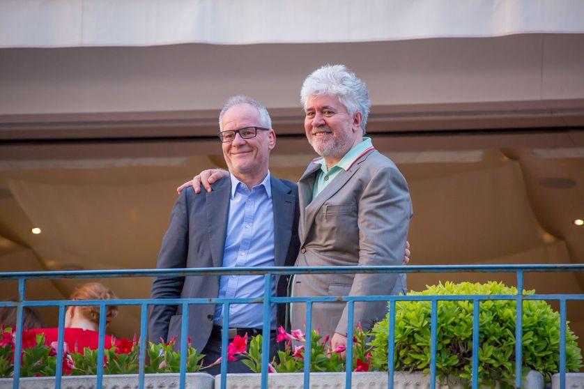 Thierry Frémaux et Pedro Almodovar à Cannes mardi 16 mai 2017
