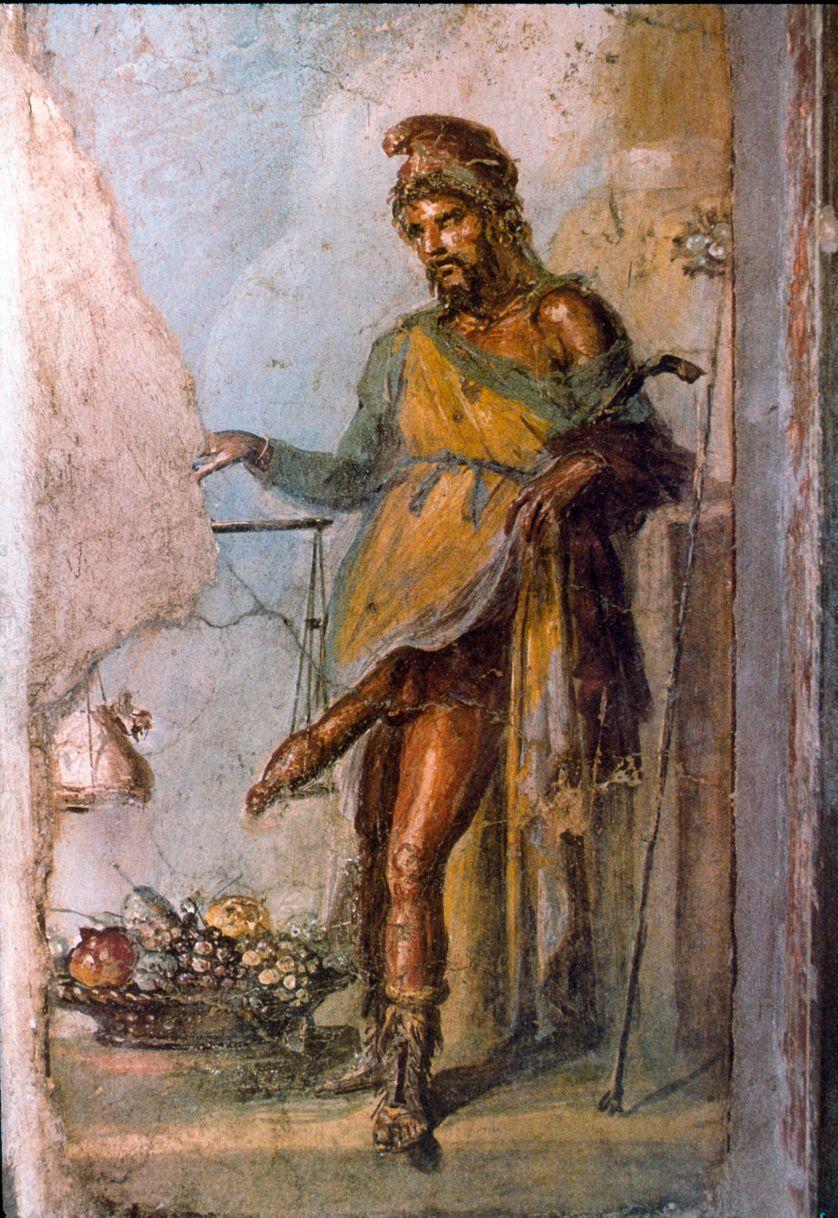 Priape, dieu de la fertilité, au pénis énorme constamment en érection (Détail de la fresque dans la cas dei Vettii - 1er siècle après J.C)