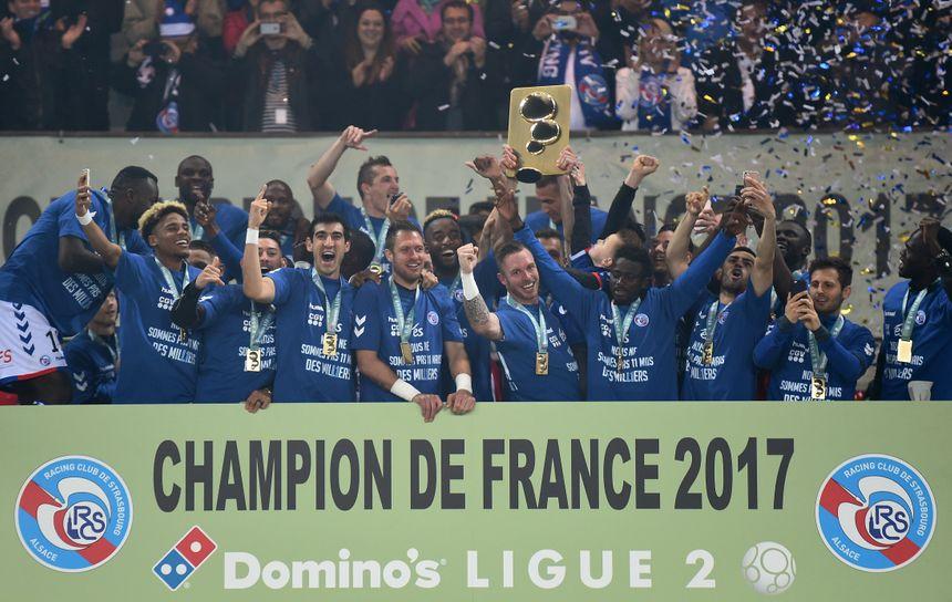 La fête des joueurs du Racing Club de Strasbourg à la Meinau, le 19 mai 2017