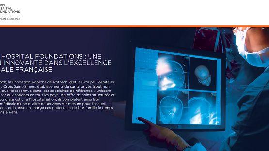Page d'accueil de la plateforme pour les patients étrangers Paris Hospital Foundations