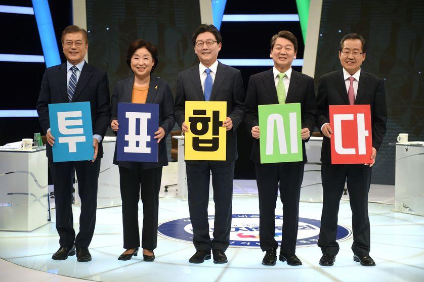 Candidats à l'élection présidentielle de Corée du Sud avant un débat télévisé, 28 avril 2017