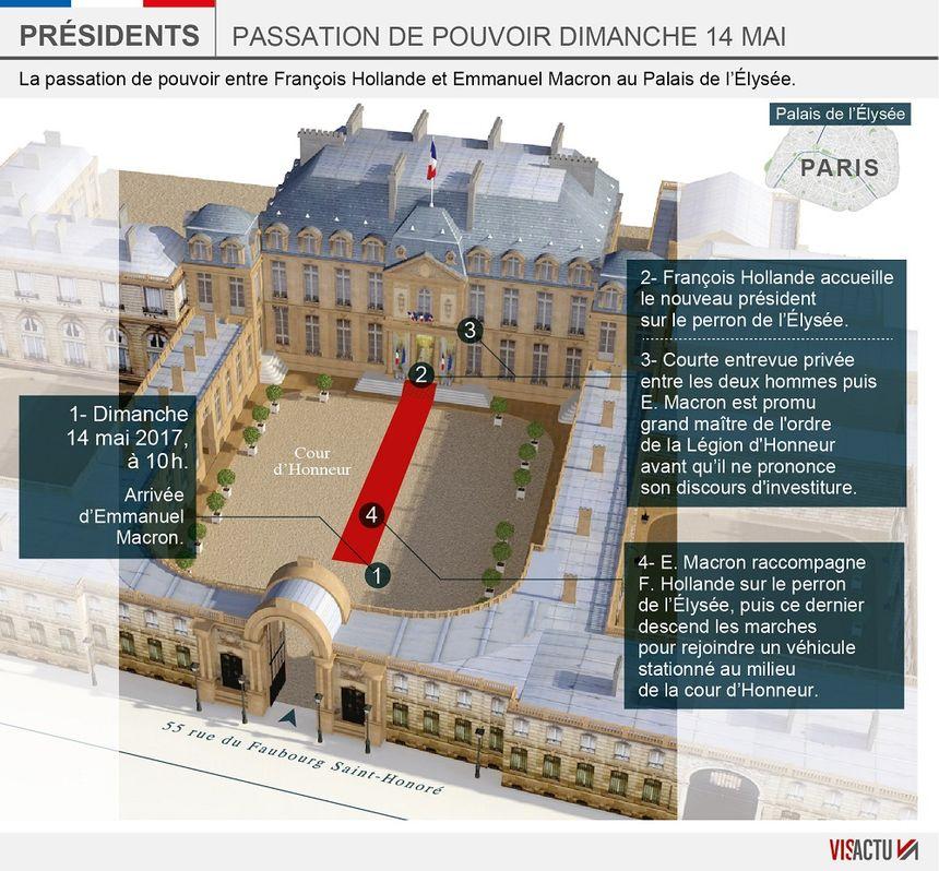 Dimanche, passation de pouvoir entre François Hollande et Emmanuel Macron à l'Élysée