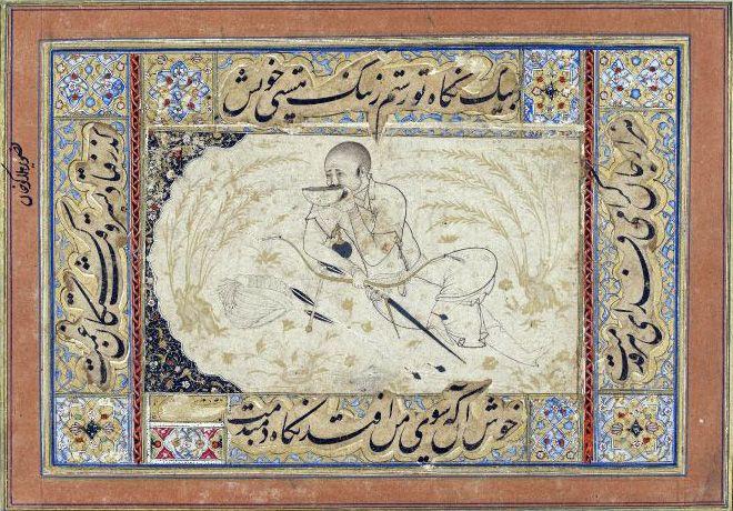 Dessin persan (début du 16ème siècle) représentant Hülegü Khan se désaltérant . Conservé au British Museum