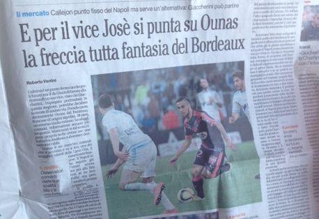 """Le journal """"Il mattino"""" affirme que le Napoli veut de nouveau s'offrir Ounas."""