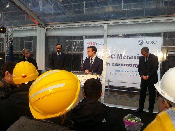 Emmanuel Macron aux chantiers STX en février 2016