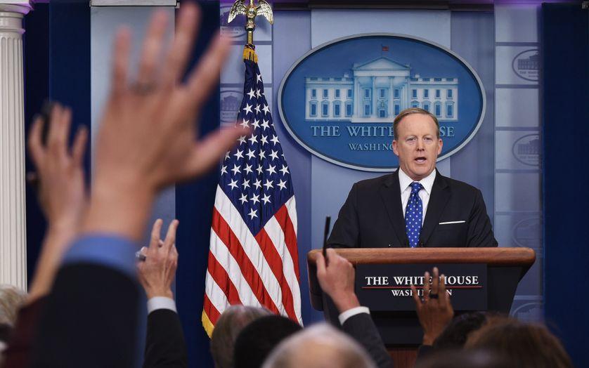 Le porte-parole de l'administration Trump, Sean Spicer, dans la salle de presse de la Maison-Blanche