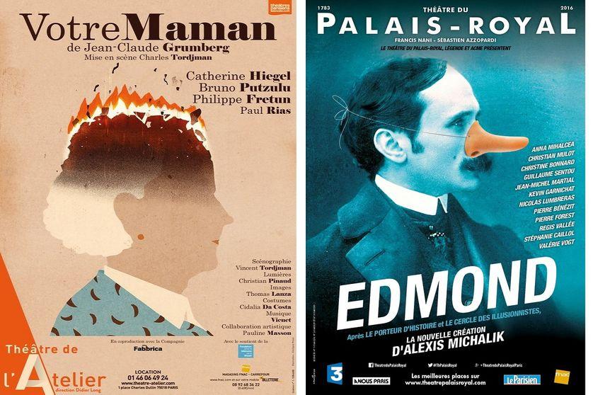 """Affiches des spectacles """"Votre de Maman"""" et """"Edmond"""""""