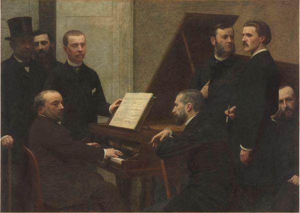 Autour du piano (1885), Henri Fantin-Latour (1836-1904), huile sur toile, H. 1.6 ; L. 2.22 m, musée d'Orsay, Paris, France
