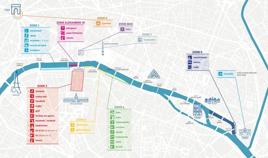 Le plan des journées olympiques, ouvertes au public de 10h à 20h les 23 et 24 juin.