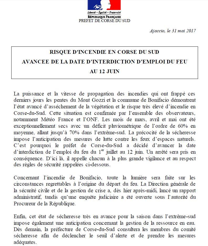 La préfecture de Corse du Sud anticipe l'interdiction de l'emploi du feu