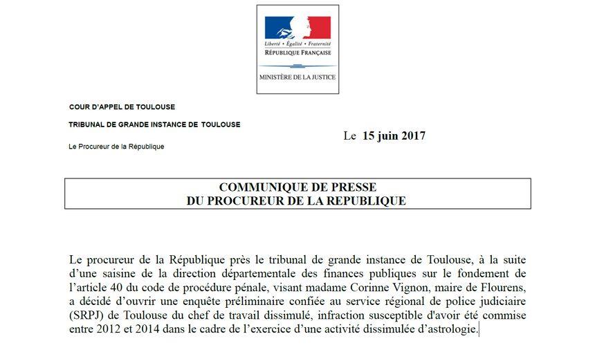 Le parquet de Toulouse a annoncé l'ouverture de l'enquête un peu avant midi