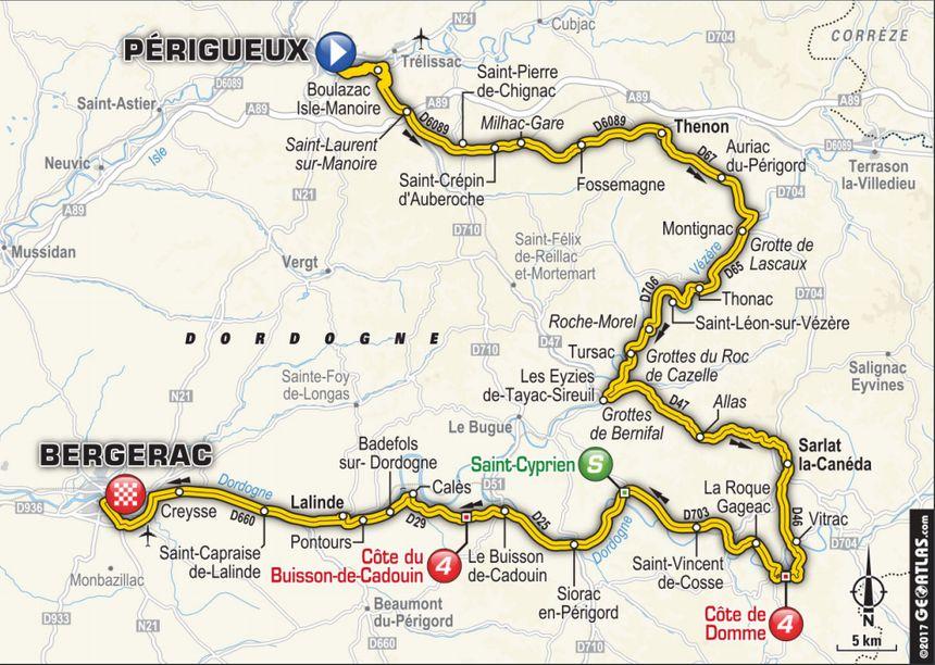 Le tracé de la dixième étape du Tour, entre Périgueux et Bergerac, passant par Beynac.