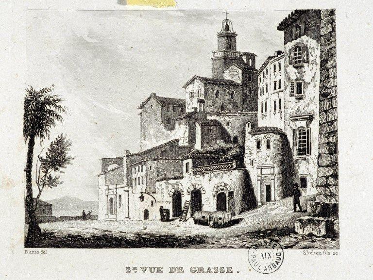 Vue de Grasse (Alpes maritimes). Lithographie du 19eme siècle, Musee Arbaud, Aix en Provence