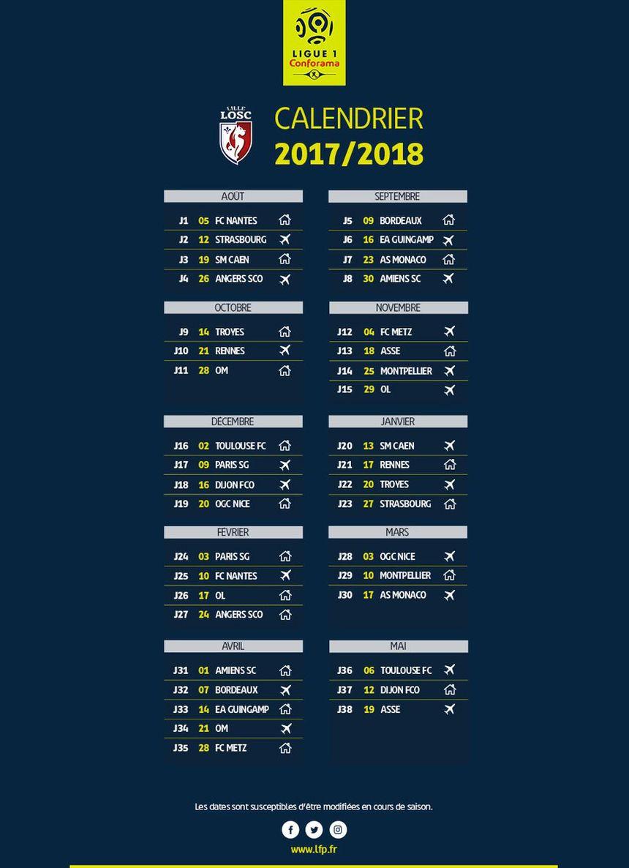 Calendrier Ligue 1 Losc.Ligue 1 Le Calendrier 2017 2018 Pour Lille