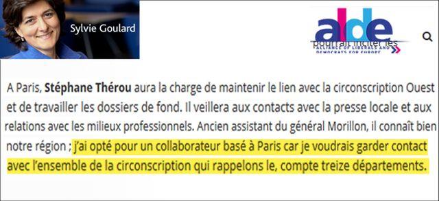 Capture d'écran du site Alde le 8 juin 2017, Sylvie Goulard sur Stéphane Thérou