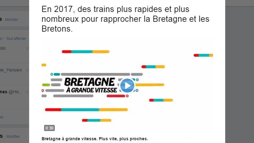 Capture d'écran du compte Twitter de la Région Bretagne