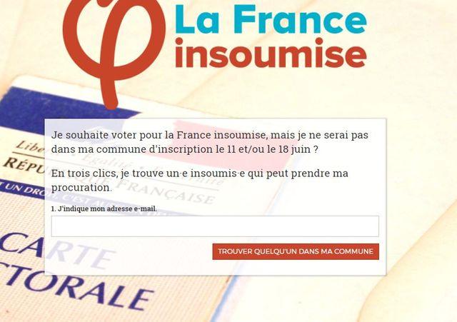 Page d'accueil du site de vote par procuration de France Insoumise