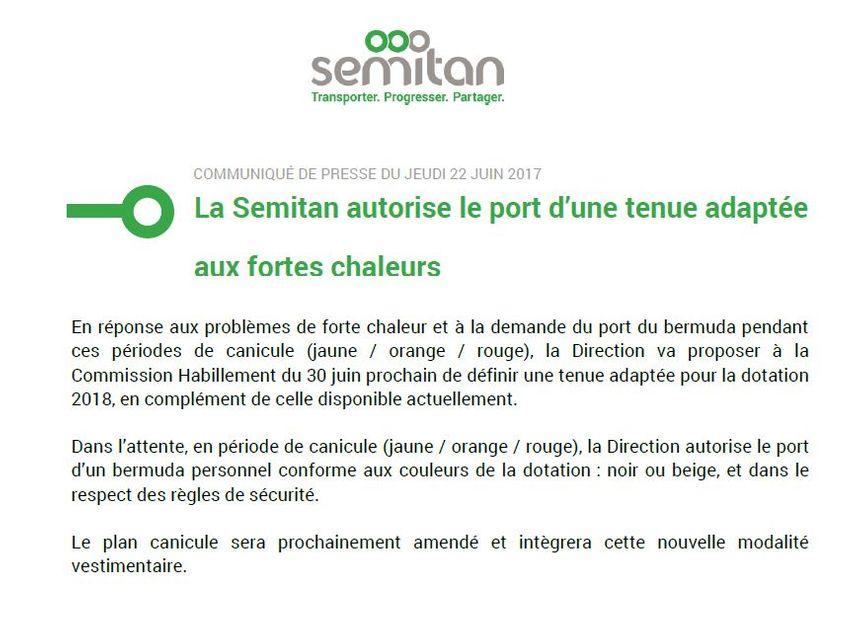 Communiqué de la TAN autorisant le port de bermuda en période de canicule