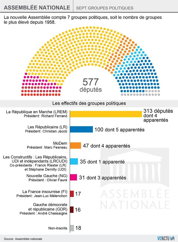 La composition des 7 groupes politiques à l'Assemblée nationale