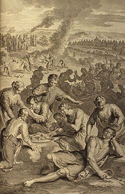 A Plague Inflicted on Israel While Eating the Quails; as in Numbers 11:31-34; illustration from the 1728 Figures de la Bible; image courtesy Bizzell Bible Collection, University of Oklahoma Libraries