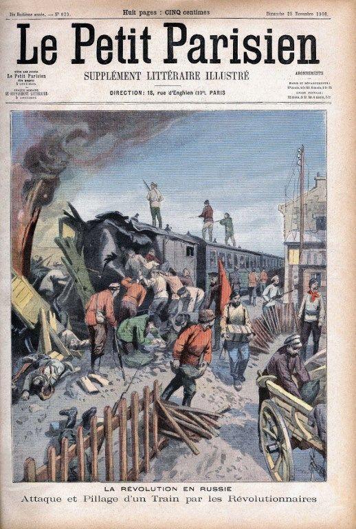 Anarchistes attaquant un train postal en 1906