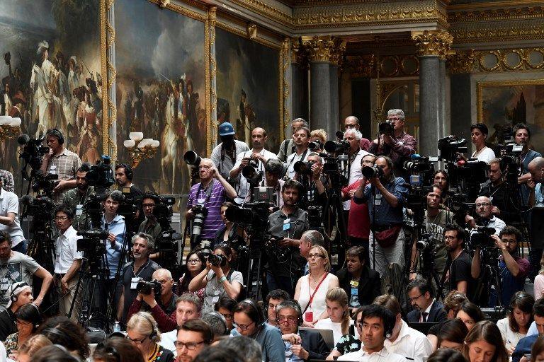 Journalistes à Versailles le 29 mai 2017, à l'occasion de la conférence de presse commune d'Emmanuel Macron et Vladimir Poutine