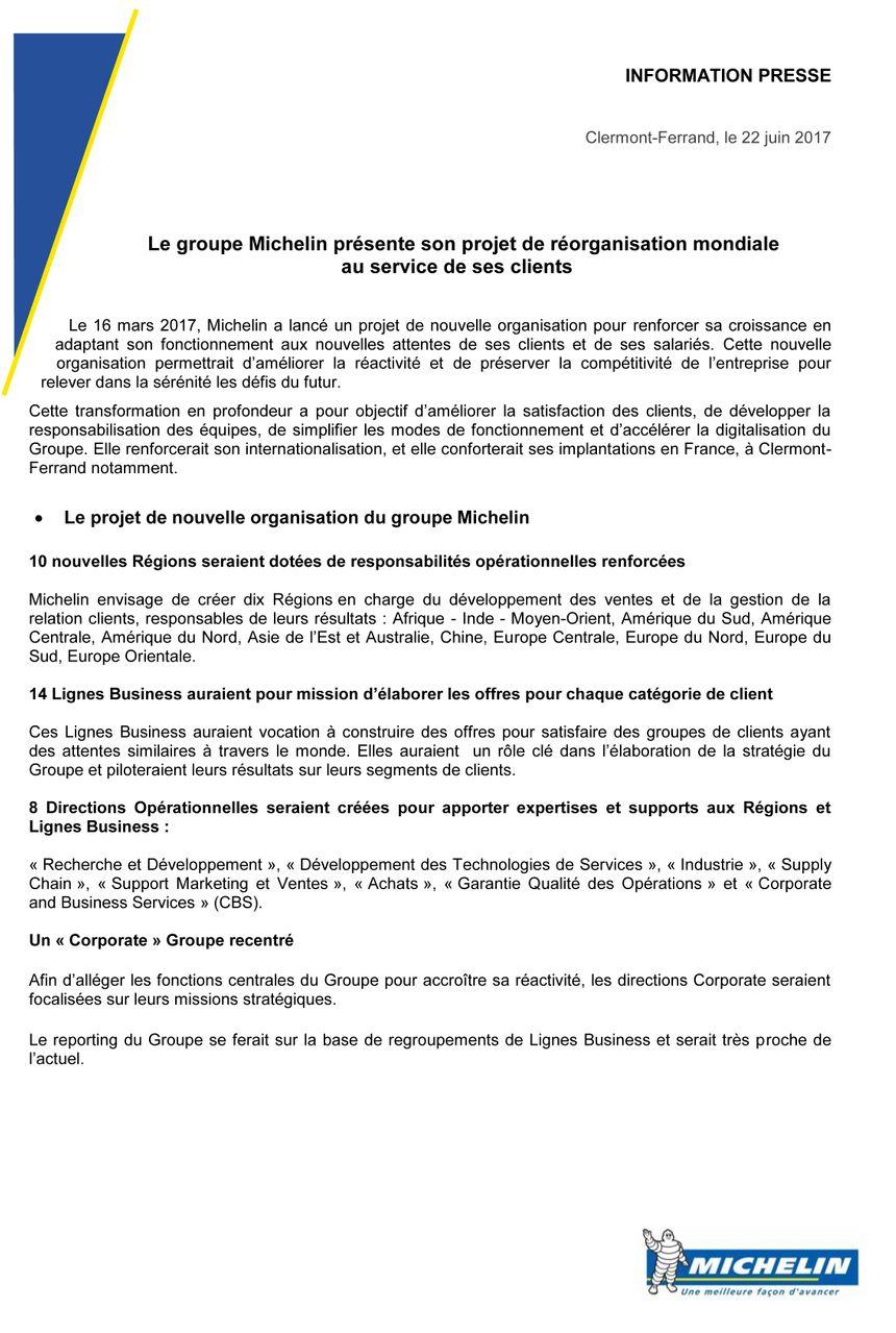 Le communiqué du groupe Michelin ce 22 juin.