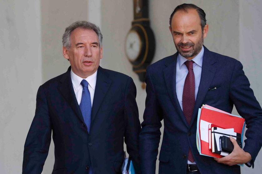 François Bayrou et le Premier ministre Edouard Philippe au sortir du Conseil des ministres du 14 juin 2017