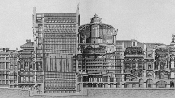 Coupe en tranche de l'Opéra Garnier