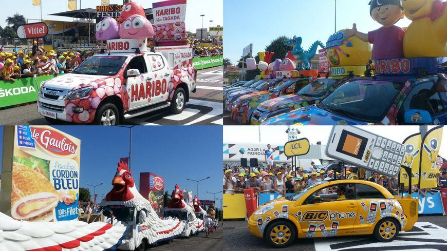 Des véhicules de la caravane publicitaire sur le Tour de France en 2014 et 2015