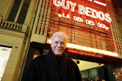 """Guy Bedos en 2013 lors de ses """"premiers"""" adieux à la scène, avec son spectacle """"La der des der"""" à l'Olympia (Paris)"""