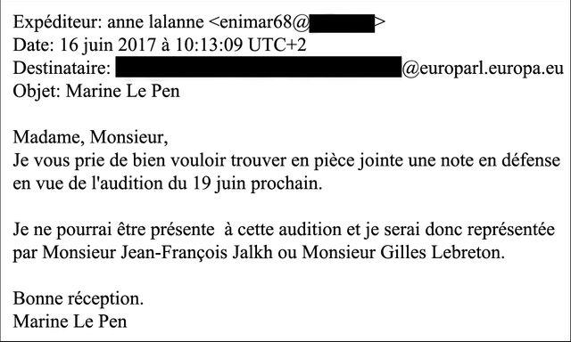 Mail de Marine Le Pen, alias Enimar68 - Anne Lalanne