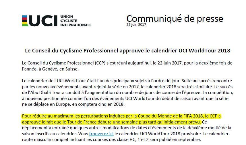 Le communiqué de l'UCI