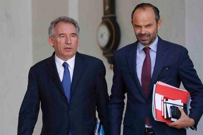 François Bayrou, garde des Sceaux et Edouard Philippe, Premier ministre du gouvernement d'Emmanuel Macron