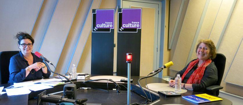 France Culture, studio 152... La productrice Aline Pailler & Marie-Josée Mondzain, philosophe, directrice de recherches au CNRS (de g. à d.)