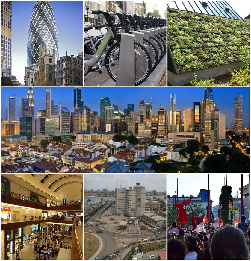 Londres, 30 StMary Axe, by A.Guichard/Boston, Hubway bikes, by L.Oliveira/Newport News Virginia, Green Roof, by R.Somma/Singapore, by Someformofhuman/Dubai mall, by Shahroozporia/Lagos, U.Ryttgens/Syrian Refugees Welcome, Vienna, 2015