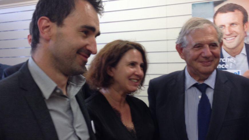 Jacques Mézard (à droite) à Riom jeudi dernier, lors de sa visite pour soutenir les candidats En Marche du Puy de Dôme