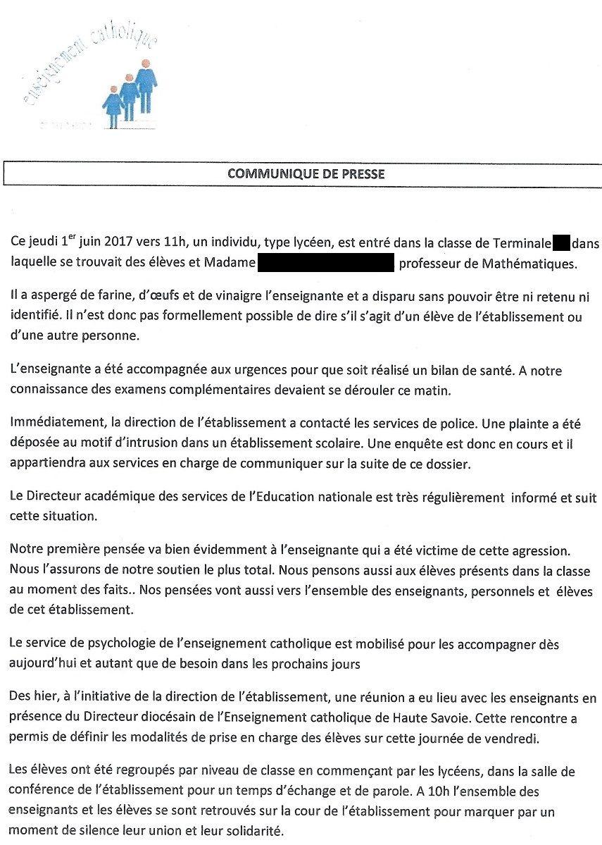 Le communiqué de la direction du lycée Saint-Michel d'Annecy.