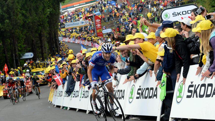 La Planche des Belles Filles, le 14 juillet 2014, l'arrivée de la 10e étape. Le Français Thibaut Pinot termine à la deuxième place.