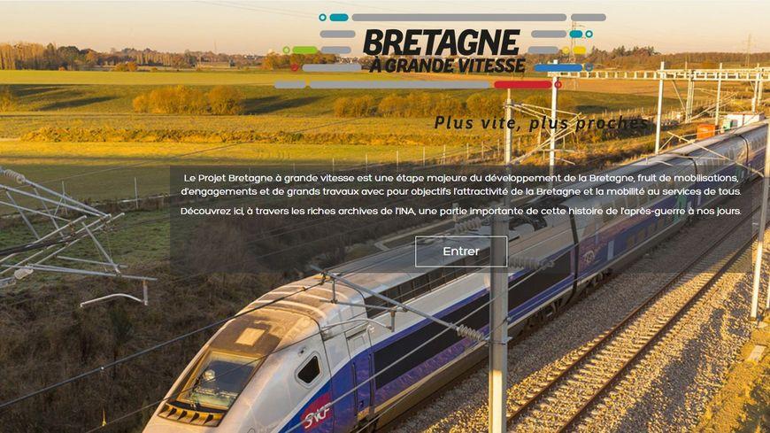 Capture d'écran retraçant l'histoire du train en Bretagne via le site de la Région