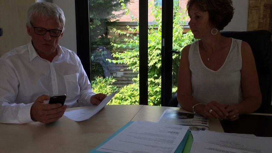 Thierry Lazaro et l'une de ses collaboratrices parlementaires, Marie Cieters