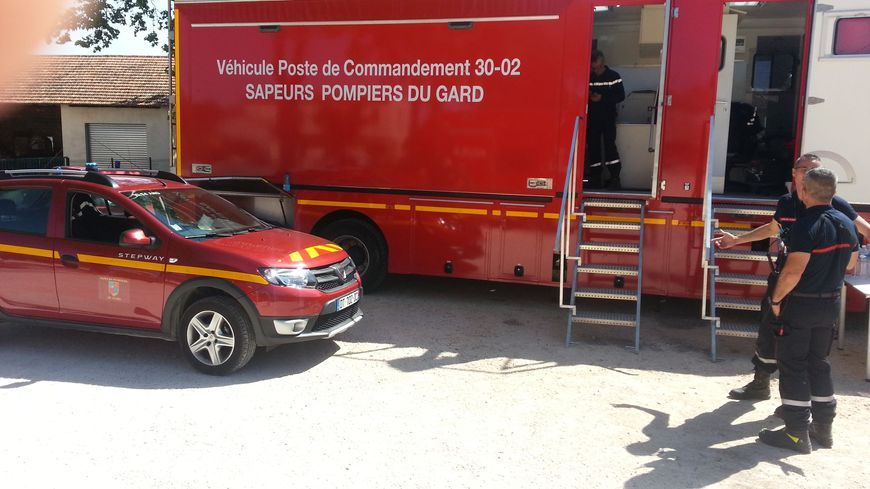 le camion de commandement des pompiers du Gard lors d'un exercice