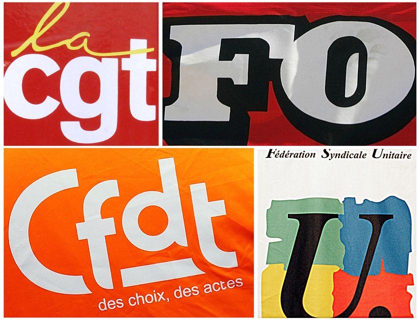 Logos des syndicats : CGT, FO, CFDT et FSU, 03/12/2014