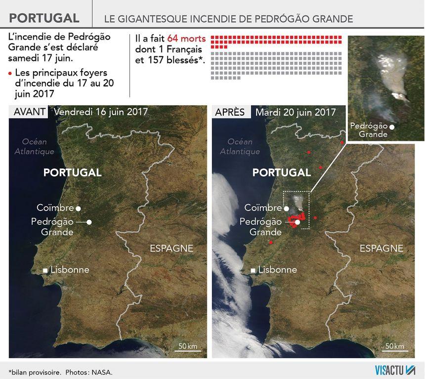 Portugal : l'incendie de Pedrógão Grande vu de l'espace