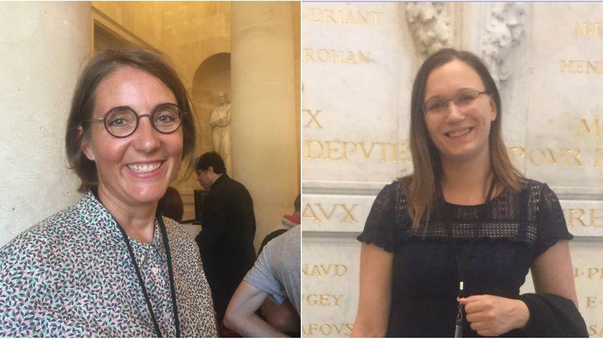 Barbara Bessot-Ballot (à gauche) et Fannette Charvier (à droite) ont découvert mercredi pour la première fois les couloirs du Palais Bourbon.